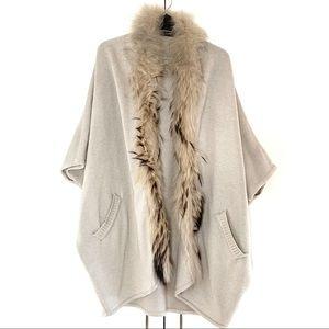 FUNK Beige Knit Poncho with Fur Collar Trim